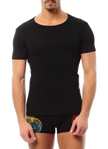 Goldenbay Erkek O-Yaka Kısa Kollu Üst Termal Sıcak Tutan İçlik Siyah